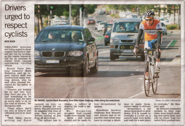 August 17th, 2009 Geelong Advertiser - Drivers urged to respect cyclists