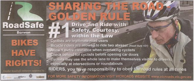 "RoadSafe Barwon ""Share the Road"" advertisement"