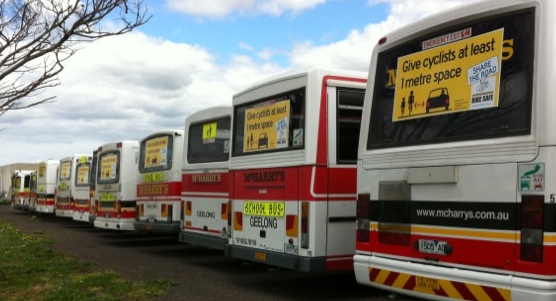 Bike Safe signs on McHarry's buses
