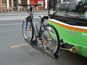 Bike rack on bus in Canberra